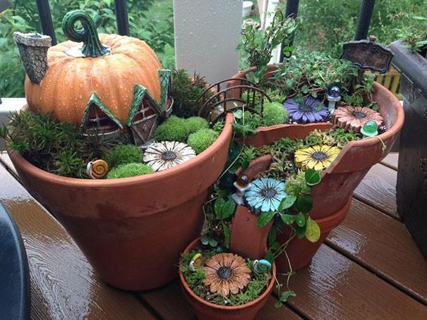 Jardins Miniatures vos pots cassés recyclés en jardins miniatures